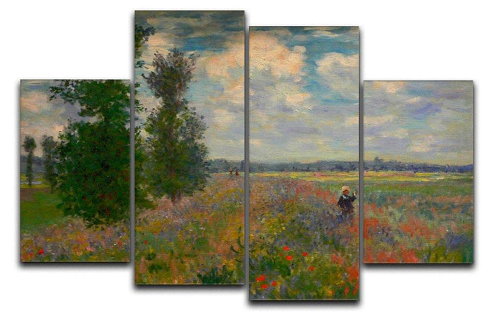 Poppy field Argenteuil by Monet 4 Split Panel Canvas