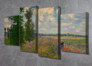 Poppy field Argenteuil by Monet 4 Split Panel Canvas - Canvas Art Rocks - 2
