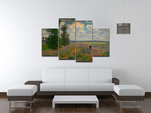 Poppy field Argenteuil by Monet 4 Split Panel Canvas - Canvas Art Rocks - 3