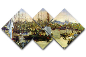 Port of Bordeaux by Manet 4 Square Multi Panel Canvas  - Canvas Art Rocks - 1
