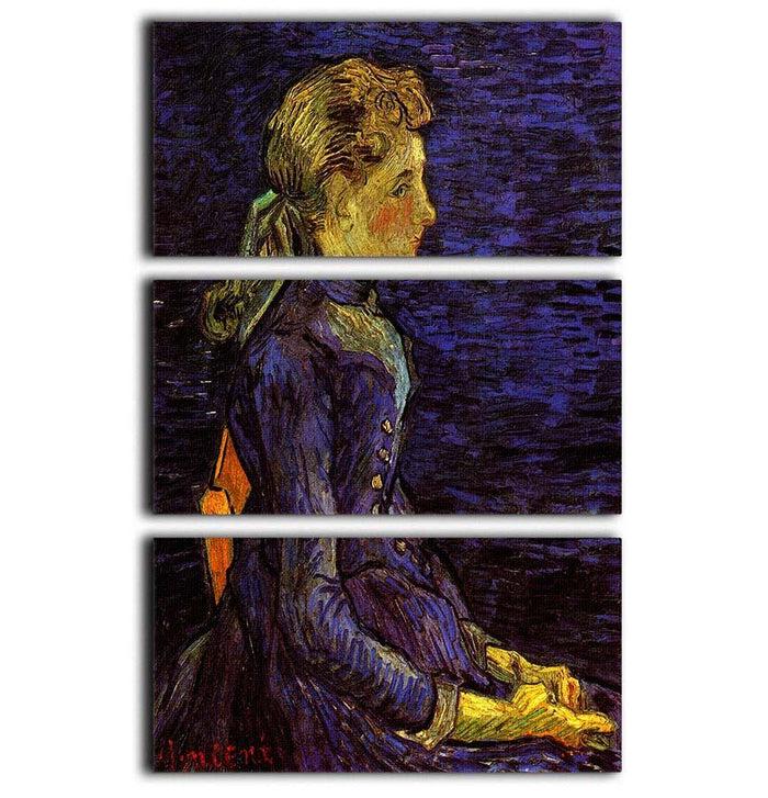 Portrait of Adeline Ravoux by Van Gogh 3 Split Panel Canvas Print