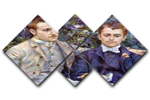 Portrait of Charles and George by Renoir 4 Square Multi Panel Canvas  - Canvas Art Rocks - 1