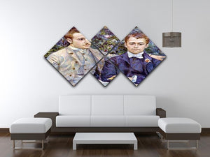 Portrait of Charles and George by Renoir 4 Square Multi Panel Canvas - Canvas Art Rocks - 3