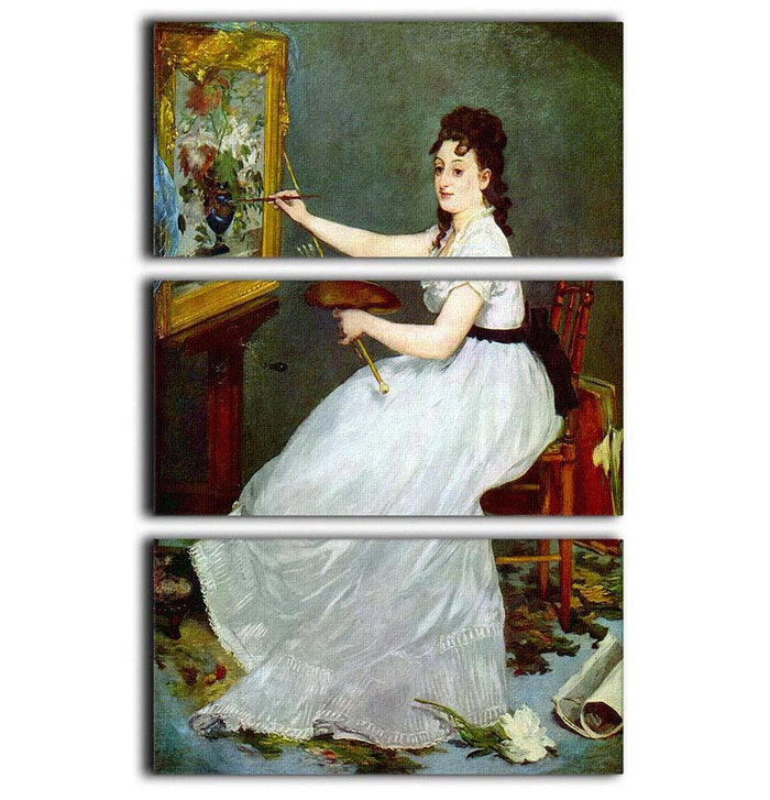 Portrait of Eva GonzalCs in Manets studio by Manet 3 Split Panel Canvas Print