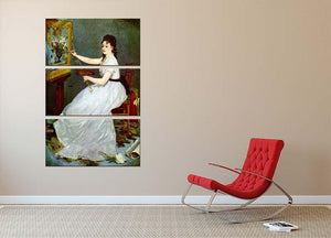Portrait of Eva GonzalCs in Manets studio by Manet 3 Split Panel Canvas Print - Canvas Art Rocks - 2