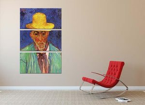 Portrait of Patience Escalier Shepherd in Provence by Van Gogh 3 Split Panel Canvas Print - Canvas Art Rocks - 2