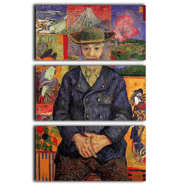 Portrait of Pere Tanguy by Van Gogh 3 Split Panel Canvas Print