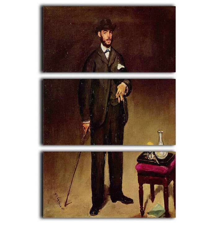 Portrait of ThCodore Duret by Manet 3 Split Panel Canvas Print