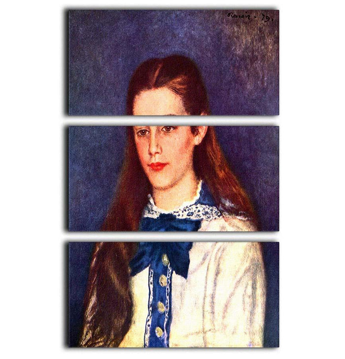 Portrait of Therese Berard by Renoir 3 Split Panel Canvas Print