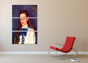 Portrait of Therese Berard by Renoir 3 Split Panel Canvas Print - Canvas Art Rocks - 2