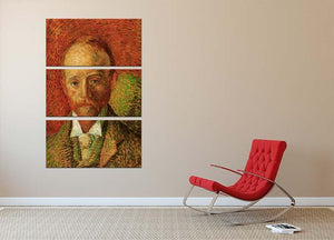 Portrait of the Art Dealer Alexander Reid by Van Gogh 3 Split Panel Canvas Print - Canvas Art Rocks - 2