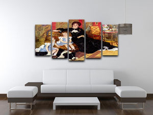 Portrait of the Mrs Charpentier and her children by Renoir 5 Split Panel Canvas - Canvas Art Rocks - 3