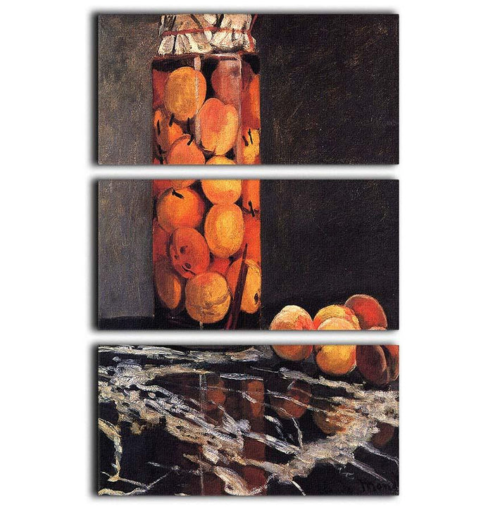 Pot of Peaches by Monet 3 Split Panel Canvas Print