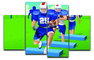 Practicing American football 4 Split Panel Canvas  - Canvas Art Rocks - 1
