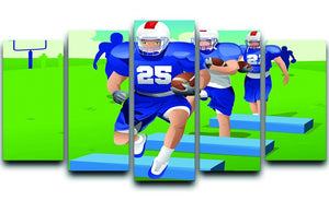 Practicing American football 5 Split Panel Canvas  - Canvas Art Rocks - 1