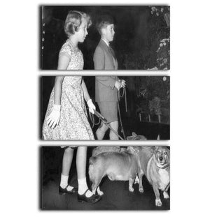 Prince Charles with Princess Anne as children with pet dogs 3 Split Panel Canvas Print - Canvas Art Rocks - 1