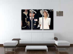 Prince Charles with Princess Diana British forces homecoming 3 Split Panel Canvas Print - Canvas Art Rocks - 3