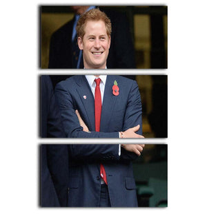 Prince Harry at the Rugby International 3 Split Panel Canvas Print - Canvas Art Rocks - 1
