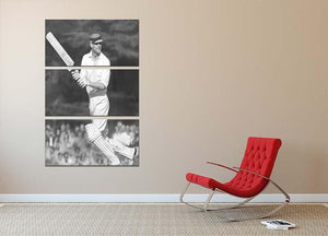 Prince Philip batting at a charity cricket match 3 Split Panel Canvas Print - Canvas Art Rocks - 2