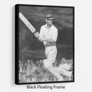 Prince Philip batting at a charity cricket match Floating Frame Canvas