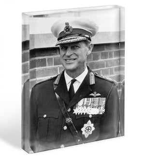 Prince Philip in Royal Marines uniform Acrylic Block - Canvas Art Rocks - 1