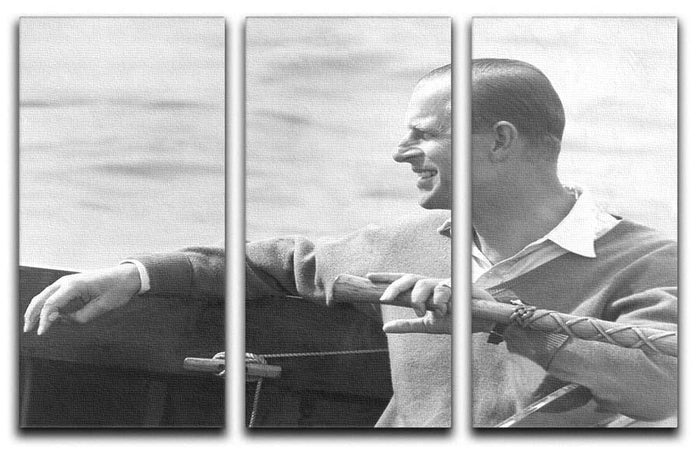 Prince Philip in a sailing race at Cowes Isle of Wight 3 Split Panel Canvas Print