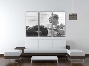 Prince Philip in a sailing race at Cowes Isle of Wight 3 Split Panel Canvas Print - Canvas Art Rocks - 3