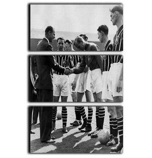Prince Philip meeting members of Manchester City team 3 Split Panel Canvas Print - Canvas Art Rocks - 1