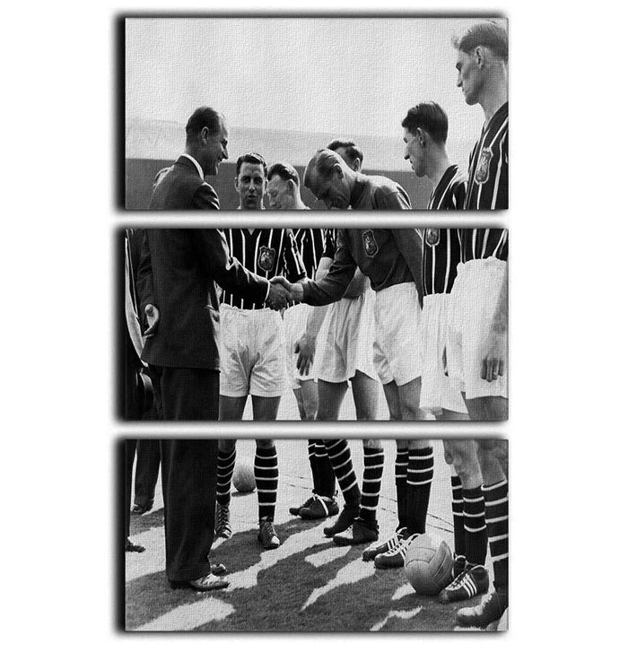 Prince Philip meeting members of Manchester City team 3 Split Panel Canvas Print