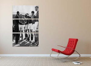 Prince Philip meeting members of Manchester City team 3 Split Panel Canvas Print - Canvas Art Rocks - 2