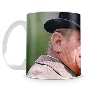 Prince Philip out riding in a black bowler hat Mug - Canvas Art Rocks - 2