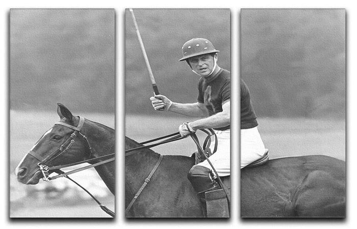 Prince Philip shown winning the polo Gold Cup 3 Split Panel Canvas Print