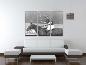 Prince Philip shown winning the polo Gold Cup 3 Split Panel Canvas Print - Canvas Art Rocks - 3