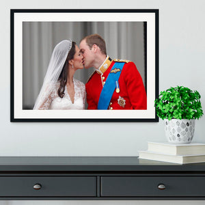 Prince William and Kate sharing a wedding kiss Framed Print - Canvas Art Rocks - 1