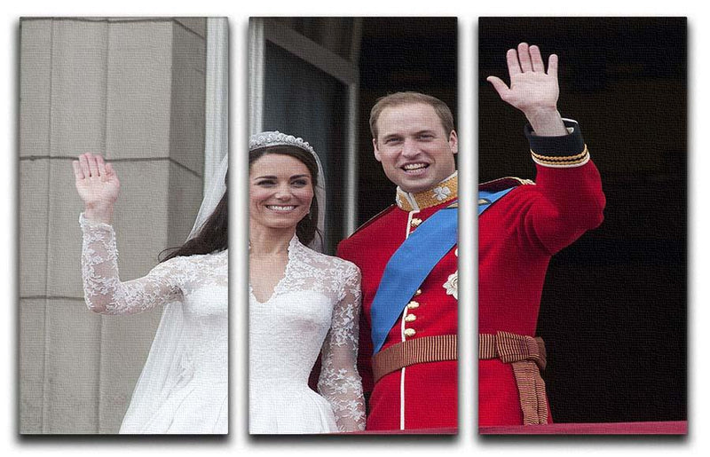 Prince William and Kate waving on their wedding day 3 Split Panel Canvas Print - Canvas Art Rocks - 1