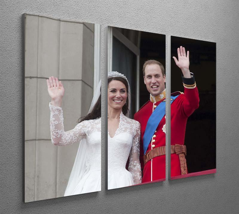 Prince William and Kate waving on their wedding day 3 Split Panel Canvas Print - Canvas Art Rocks - 2