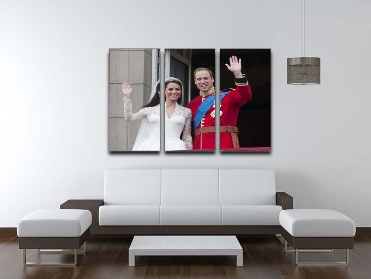 Prince William and Kate waving on their wedding day 3 Split Panel Canvas Print - Canvas Art Rocks - 3