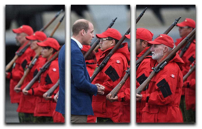 Prince William greeted by Canadian Rangers on Canadian tour 3 Split Panel Canvas Print