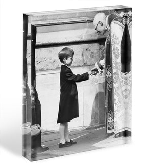 Prince William greeting the Dean of St Georges Chapel Acrylic Block - Canvas Art Rocks - 1