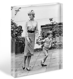 Prince William with Princess Diana dropping Harry at school Acrylic Block - Canvas Art Rocks - 1