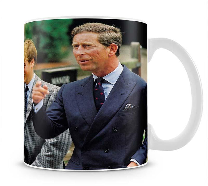 Prince Williams first day at Eton with Prince Charles Mug