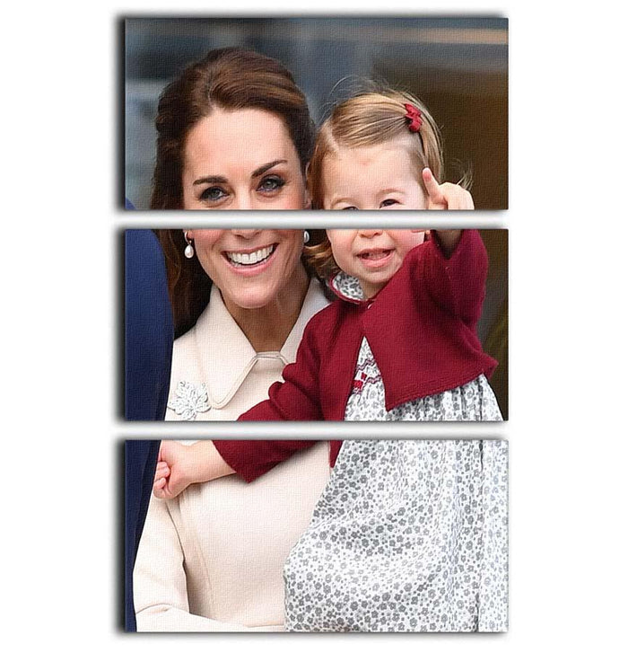Princess Charlotte held by her mother Kate 3 Split Panel Canvas Print