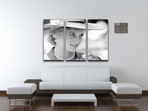 Princess Diana arrives at church in Melbourne Australia 3 Split Panel Canvas Print - Canvas Art Rocks - 3