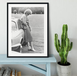 Princess Diana at a polo match Framed Print - Canvas Art Rocks - 1