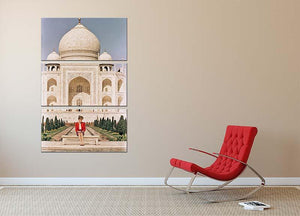 Princess Diana at the Taj Mahal in India 3 Split Panel Canvas Print - Canvas Art Rocks - 2