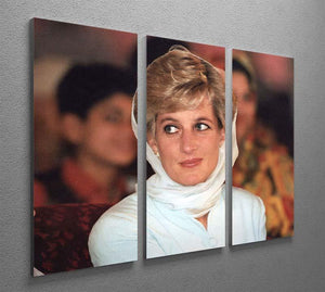 Princess Diana in Lahore wearing a white headscarf 3 Split Panel Canvas Print - Canvas Art Rocks - 2