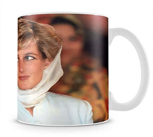 Princess Diana in Lahore wearing a white headscarf Mug - Canvas Art Rocks - 1