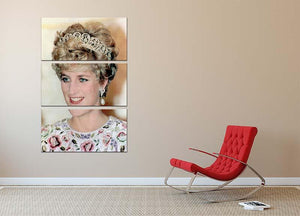 Princess Diana in a tiara at a dinner in Seoul South Korea 3 Split Panel Canvas Print - Canvas Art Rocks - 2