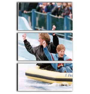 Princess Diana with Prince Harry on a water ride 3 Split Panel Canvas Print - Canvas Art Rocks - 1