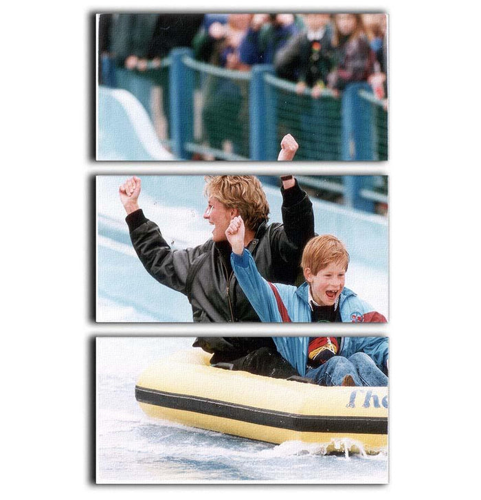 Princess Diana with Prince Harry on a water ride 3 Split Panel Canvas Print